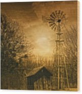 Windmill At Sunset Wood Print
