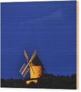 Windmill Collioure Wood Print