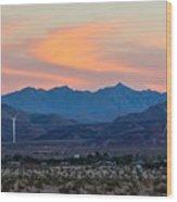 Windmill Desert Sunset Wood Print