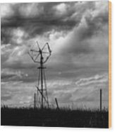 Windmill Foreground A Dramatic Sky Baw Wood Print