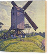 Windmill In Flanders Wood Print