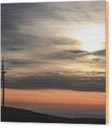 Windmill In Sunrise Wood Print