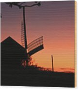 Windmill In The Afterglow. Wood Print