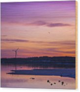 Windmill In The Sunset By The Sea Wood Print