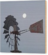 Windmill Moon Wood Print