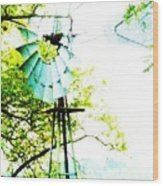 Windmill Of Kansas Wood Print