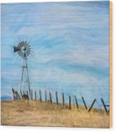 Windmill On The Hill Wood Print