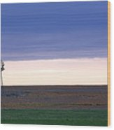 Windmill On The Prairie Wood Print