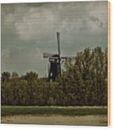 Windmill On The Rhine Wood Print
