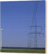 Windmills And High Voltage Transmission Wood Print