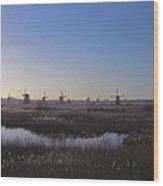 Windmills At Kinderdijk In Wintersun Wood Print