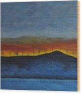 Burney Sunset With Windmills Wood Print