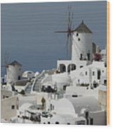 Windmills Of Santorini Wood Print