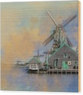 Windmills Of Zaanse Schans Wood Print