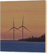Windmills Sync Wood Print