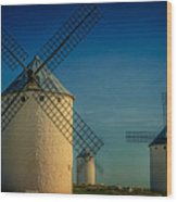Windmills Under Blue Sky Wood Print