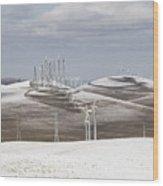 Windmils In Snow Wood Print