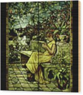 Window - Lady In Garden Wood Print
