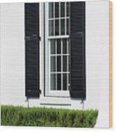Window And Black Shutters Wood Print