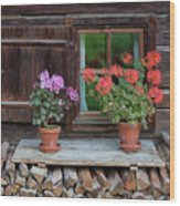 Window And Geraniums Wood Print