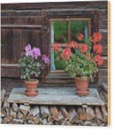 Window And Geraniums Wood Print by Yair Karelic