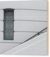 Window And Rail Wood Print