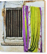 Window And Sari Wood Print