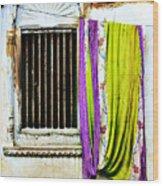 Window and Sari Wood Print