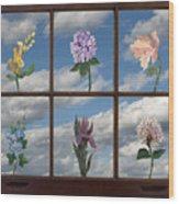 Window Garden Wood Print