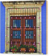 Window In Blue With Baubles Wood Print