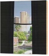 Window Of Downtown Wood Print