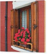 Window On Burano Wood Print