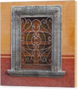 Window On Orange Wall San Miguel De Allende Wood Print