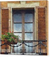 Window Shutters And Flowers I Wood Print