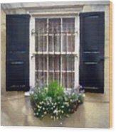 Window Shutters And Flowers II Wood Print