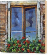 Window Shutters And Flowers IIi Wood Print