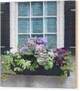 Window Shutters And Flowers Vi Wood Print