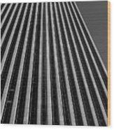 Window Washers View - Black And White Wood Print