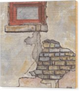 Window With Crumbling Plaster Wood Print
