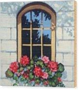Window With Flower Box Wood Print