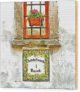 Window With Flower Pot Wood Print