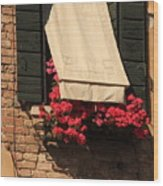 Window With Flowers In Venice Wood Print