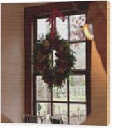Window Wreath Wood Print
