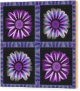 Windowpanes Brimming With  Moonburst Stripes Of Flowers - Scene 6 Wood Print