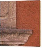 Windowsill And Orange Wall San Miguel De Allende Wood Print