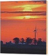 Windpower Sunrise Wood Print