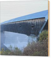 Windsor Cornish Covered Bridge Fog Wood Print