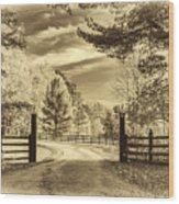 Windstone Farm - Sepia Wood Print