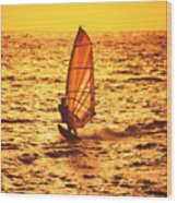 Windsurfer At Sunset Wood Print