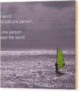 Windsurfer Under A Gloomy Sky Wood Print
